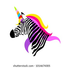 Colorful unicorn zebra. vector illustration isolated on white background.