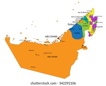 Uae Map Images, Stock Photos & Vectors | Shutterstock
