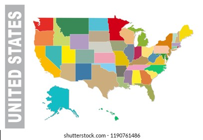 Colorful united staes administrative and political vector map