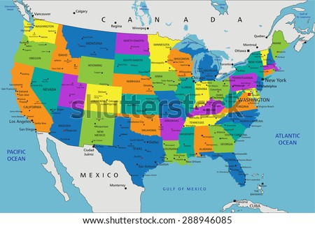 Colorful United States America Political Map Stock Vector Royalty