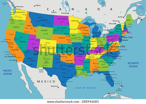 Map Of States In America.Colorful United States America Political Map Stock Vector Royalty