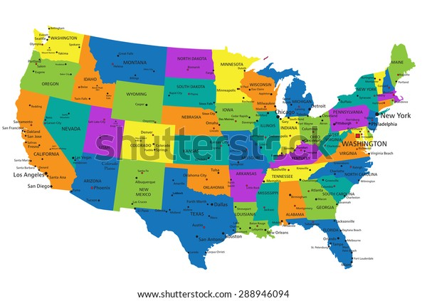Colorful United States America Political Map Stock Vector