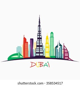 The colorful urban landscape of Dubai. Vector illustration. Urban background. Quality design illustrations, elements and concept.