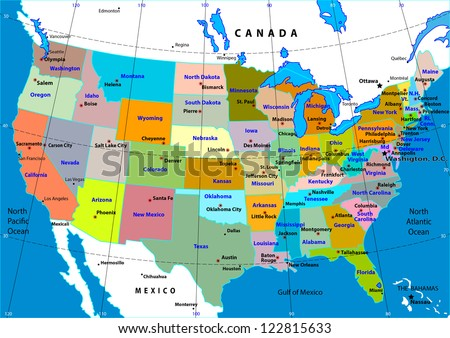 Map Of States In The Usa.Colorful Usa Map States Capital Cities Stock Vector Royalty Free
