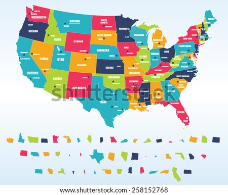 Colorful USA Map States Capital Cities Stock Vector (Royalty Free ...