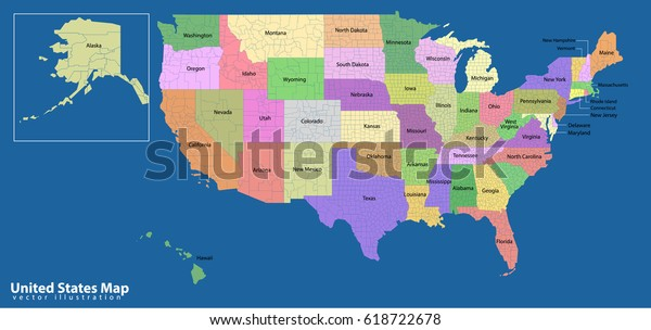 Colorful Usa Map States Capital Cities Stock Vector (Royalty ...