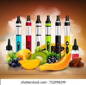 Colorful vaping electronic cigarettes and various fruit on wooden surface realistic vector illustration