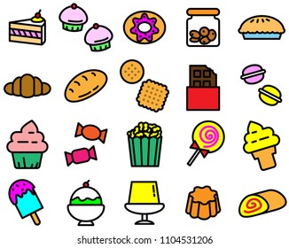 Colorful of variety dessert icon on white background