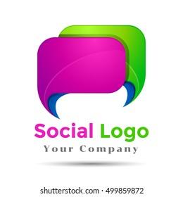 Colorful Vector 3d Volume Logo Design Speech bubble icon with heart. Corporate identity.
