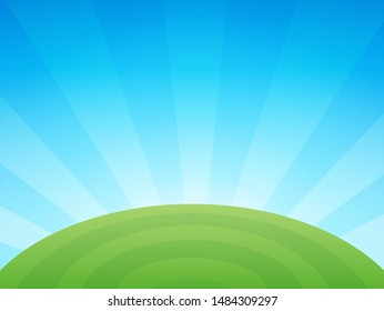 Colorful vector agriculture illustration with farm field under blue clear summer sky, Rural landscape with copy space.