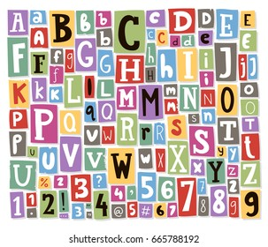 Colorful vector alphabet letters made of newspaper magazine font abc paper text collage cut type typography note illustration