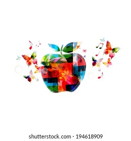 Colorful vector apple background with butterflies