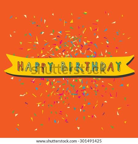 Colorful Vector Artistic Happy Birthday Card Stock Vector Royalty