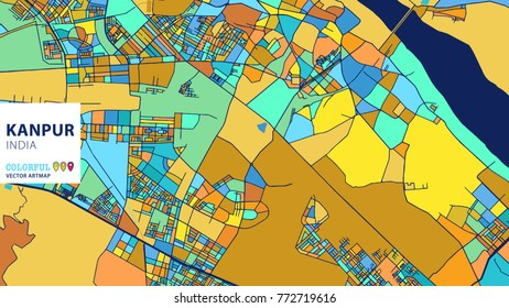 Kanpur, India, Colorful Vector Artmap. Blue-Orange-Yellow Version for Website Infographic, Wall Art and Greeting Card Backgrounds.
