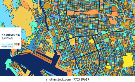 Kaohsiung, Taiwan, Colorful Vector Artmap. Blue-Orange-Yellow Version for Website Infographic, Wall Art and Greeting Card Backgrounds.