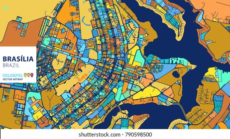 Brasília, Brazil, Colorful Vector Artmap. Blue-Orange-Yellow Version for Website Infographic, Wall Art and Greeting Card Backgrounds.