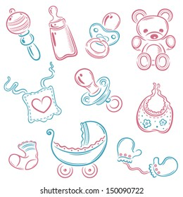 Colorful vector baby utensils set, pink and baby blue.