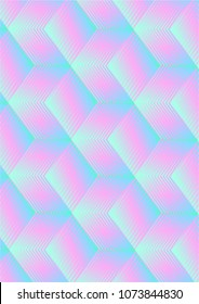 Colorful vector backgroud with trendy holographic gradient cubes.