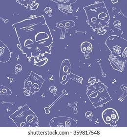 Colorful vector background for day of the dead, fun hand drawn seamless pattern with skull and doodle elements; children's wrapping paper