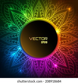 Colorful vector background, lace ornament, lacy circle frame with shining lights, eps10
