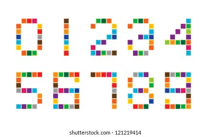 colorful vector background with set of numbers isolated on white