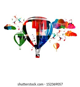 Colorful vector balloons with hummingbirds background.