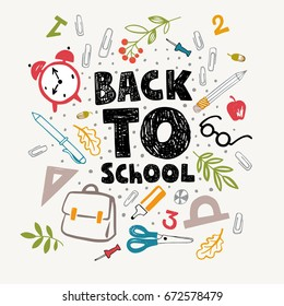 Colorful vector banner. Back to school illustration with school supplies