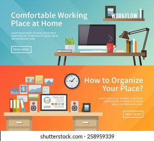 Colorful vector banners set. Workplace. Workspace. Quality design illustration, elements and concept. Flat style.#1