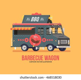 Colorful vector barbecue food truck. Food truck. Street cuisine. Modern flat illustration.