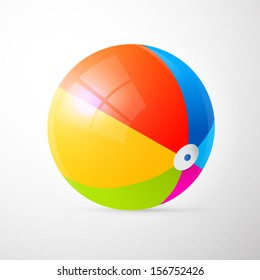 Colorful Vector Beach Ball Isolated on Light Grey Background