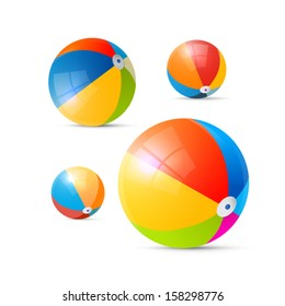 Colorful Vector Beach Balls Isolated on White Background