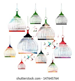 Colorful vector bird cages pattern with hummingbirds