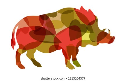 colorful vector boar, symbol of new year 2019
