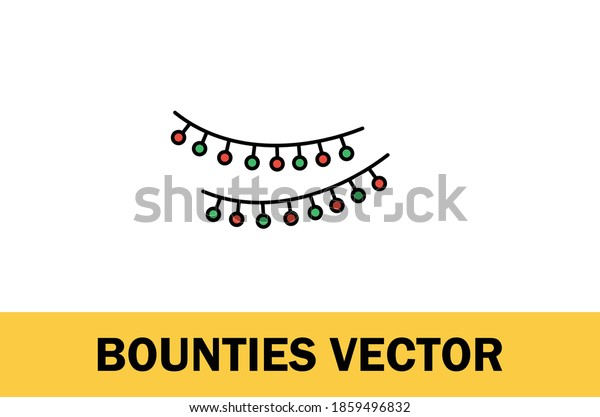 Colorful vector of bounties icon. Christmas Theme. Isolated on white background. For designer.