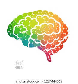 Colorful vector brain illustration, brain handdrawn made of colorful circles, mind concept drawing