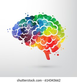 Colorful vector brain illustration, brain handdrawn painting, mind concept drawing