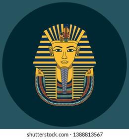 Colorful vector Burial Mask Illustration Egyptian golden pharaohs mask icon flat isolated on background. Egyptian pharaohs mask Tutankhamun line icon. King Tutankhamun.