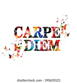 "Colorful vector ""CARPE DIEM"" background with butterflies (seize the day)"