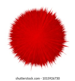 Colorful vector cartoon fluffy pompon. Fur ball. Vector isolated on white background. Funny fur ball for game design.