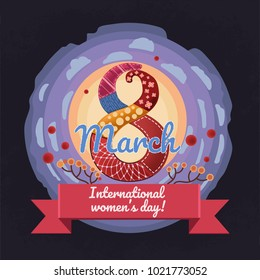 Colorful, vector, cartoon style greeting card design for 8 march, international women's day. Big abstract 8 march text composed from different materials with sun and sky on background