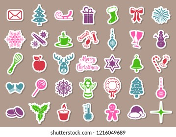 Colorful vector christmas icons isolated stickers collection