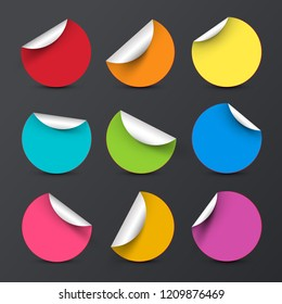 Colorful Vector Circle Empty Stickers with Bent Corners Set