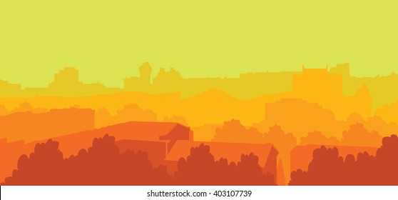 Colorful vector city landscape. Cityscape background. Red and green City buildings backdrop. Silhuette of town