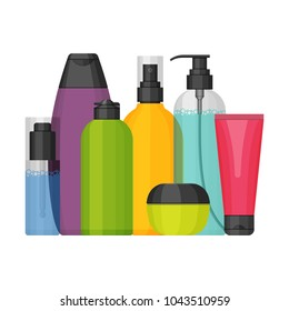 Colorful vector cosmetic bottles set for beauty and cleanser, skin and body care, toiletres. Flat design on a white background. Cream, tooth paste, shampoo, gel, spray, tube