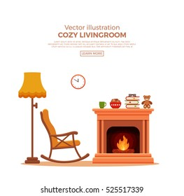 Colorful vector cozy bright winter interior illustrationr in cartoon flat style. Fireplace, rocking chair, lamp, books.