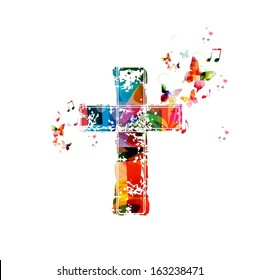 Colorful vector cross background with butterflies.