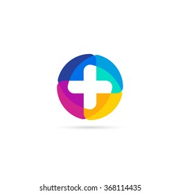 Colorful vector cross logo. Round medical icon. Religious sign. Doctor's office emblem. Ambulance label. First aid symbol. Plus button.