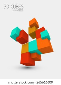 Colorful vector cubes