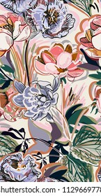 colorful vector design flower art painting decoration wallpaper seamless pattern garden peony