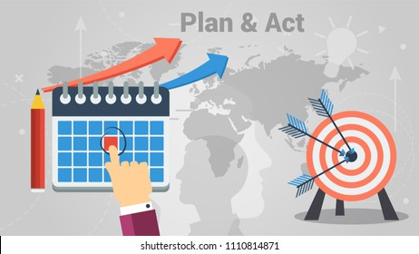 Colorful vector design showing concept of successful person making plans and putting into practice